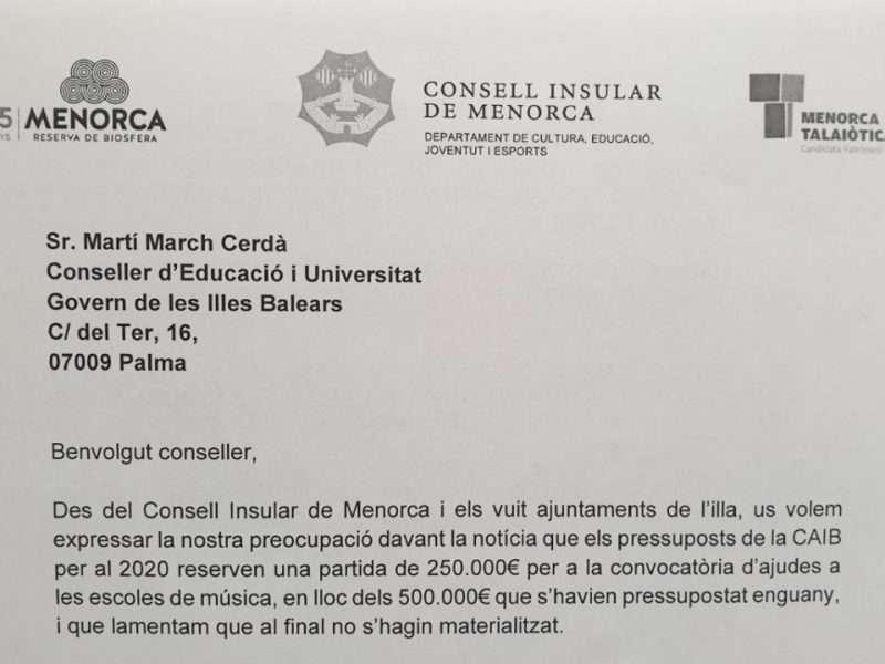Ara Maó dona suport al front comú per demanar més doblers per a les escoles de música de Menorca