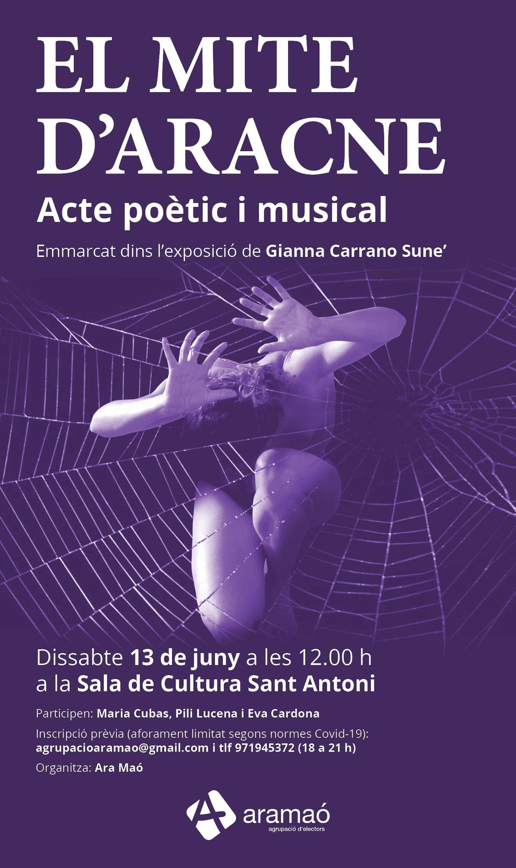 El mite d'Aracne, acte poètic i musical la Sala de Cultura Sant Antoni