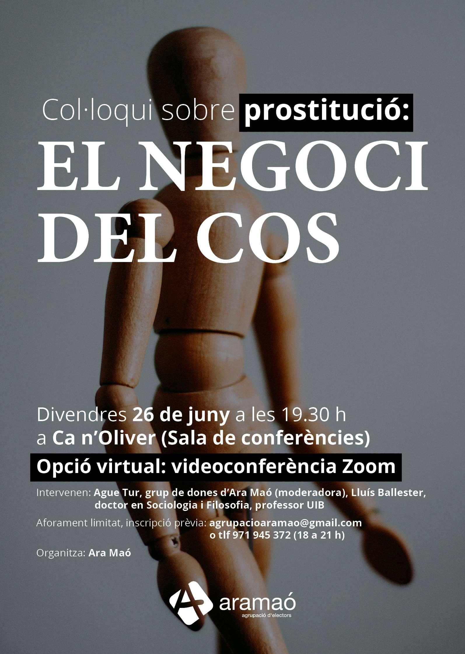 Ara Maó organitza el col·loqui 'El negoci del cos' per abordar la problemàtica de la prostitució