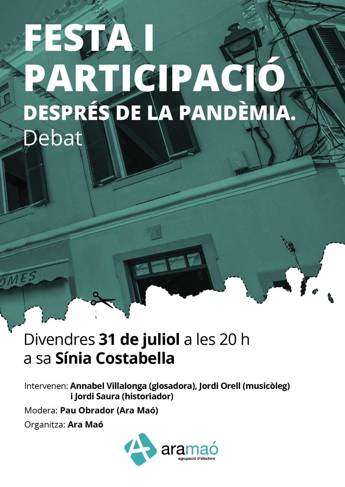 Ara Maó organitza el debat 'Festa i participació després de la pandèmia'