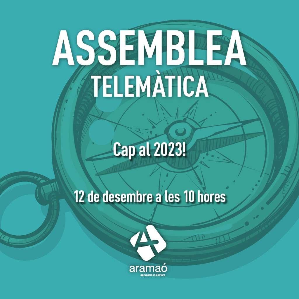 Convocatòria d'assemblea telemàtica. Horitzó 2023. Un espai social de confluència per a la transició ecosocial.