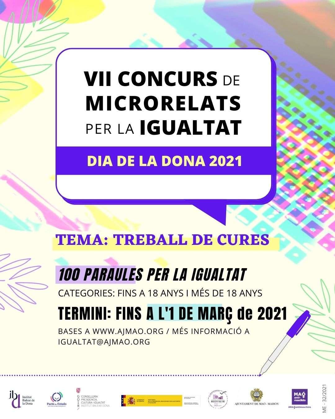 L'Ajuntament de Maó convoca el VII Concurs de Microrelats, amb motiu del Dia Internacional de la Dona