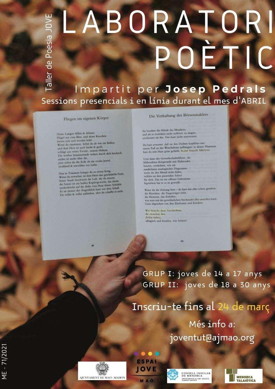 Taller gratuït de creació poètica per a joves d'entre 14 i 30 anys