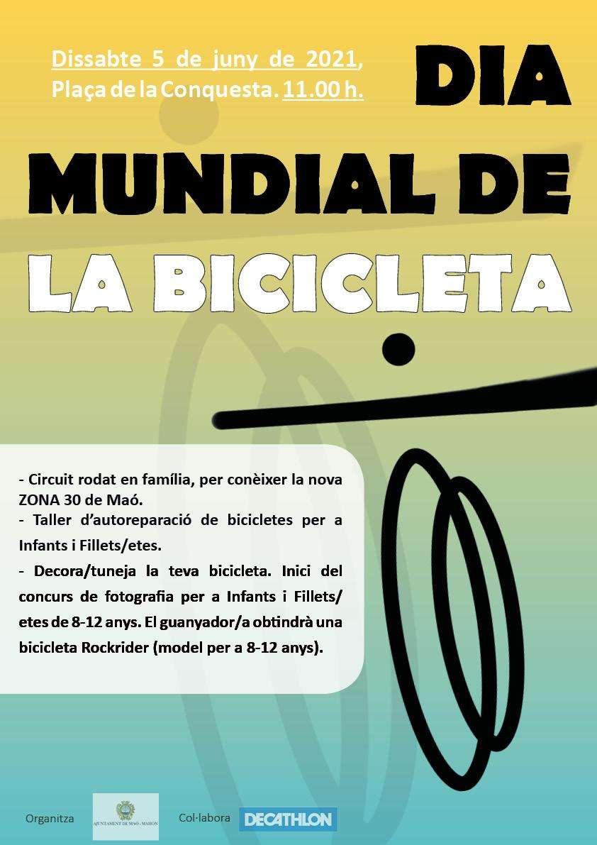 L'Ajuntament de Maó celebrarà el Dia Mundial de la Bicicleta el pròxim dissabte 5 de juny a la plaça Conquesta